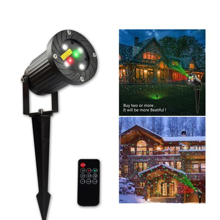 Waterproof IP65 Outdoor Garden Lawn Laser Light Projector Spotlight Yard lights Decoration Moving Red Green White 12 Patterns Multi-Function RF Control landscape Christmas  Halloween (Best Lawn Mowing Patterns)