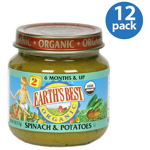 Earth's Best Stage 2 Spinach & Potatoes Baby Food, 4 oz (Pack of 12)