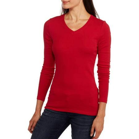 245d5fff Faded Glory - Women's Essential Long Sleeve V-neck T-Shirt - Walmart.com