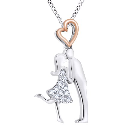 Love Moment In Your Life Round Cut White Diamond Kissing Couple Pendant Necklace In 14K White Gold Over Sterling Silver