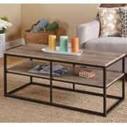 ModHaus Living Modern Industrial Reclaimed Wood Cocktail Coffee Table with 2 Shelves and Black Metal Frame - Includes Pen
