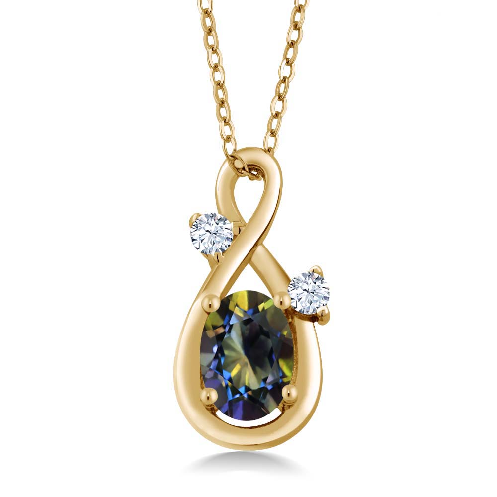 0.88 Ct Oval Blue Mystic Topaz White Created Sapphire 18K Yellow Gold Pendant