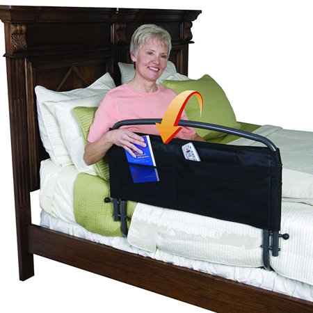 Standers Bed Rail - Stander 30' Home Safety Adult Bed Rail with Padded Organizer Pouch - Fall Prevention + Pivots Down Out of the Way + Includes Safety Strap + Lifetime Guarantee