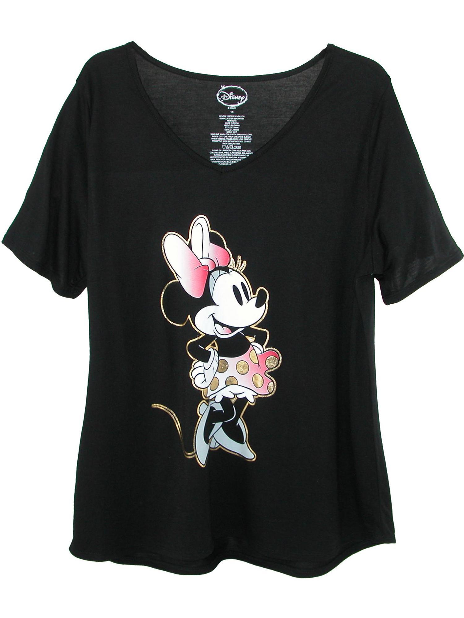 Women's Plus Size Minnie Mouse V Neck T Shirt,  Black