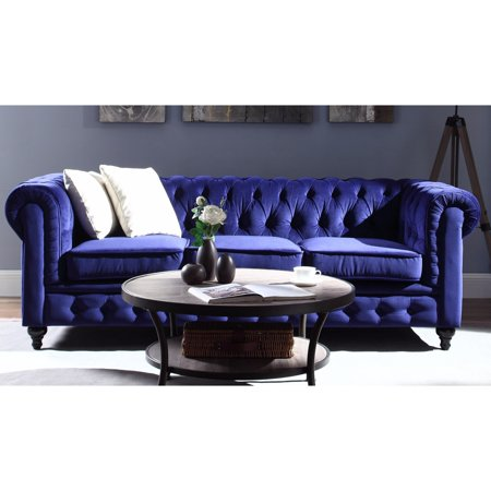 Tremendous Madison Home Classic Scroll Arm Tufted Velvet Chesterfield Large Sofa Navy Gmtry Best Dining Table And Chair Ideas Images Gmtryco