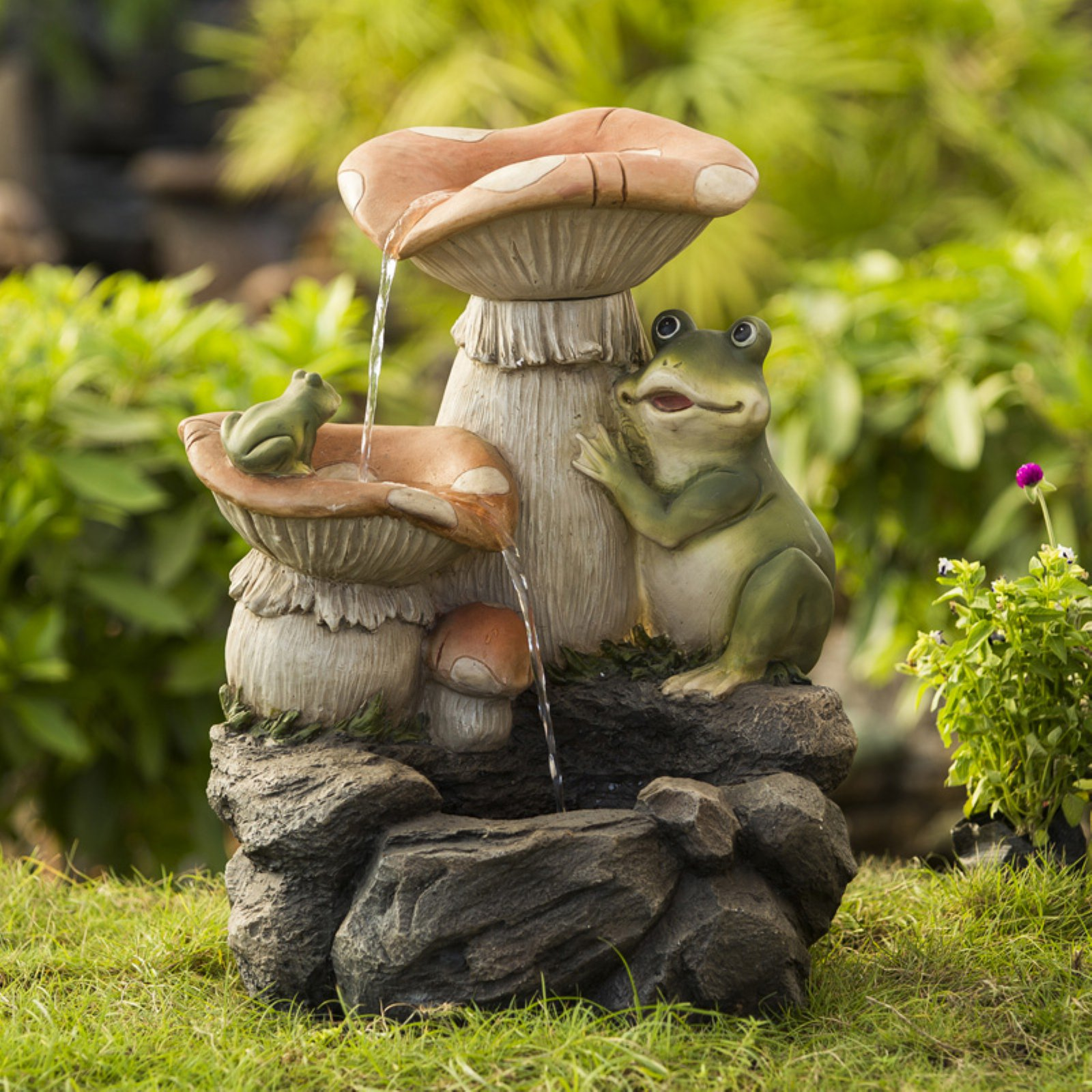 Jeco Frog Playing On Mushroom Indoor/Outdoor Fountain
