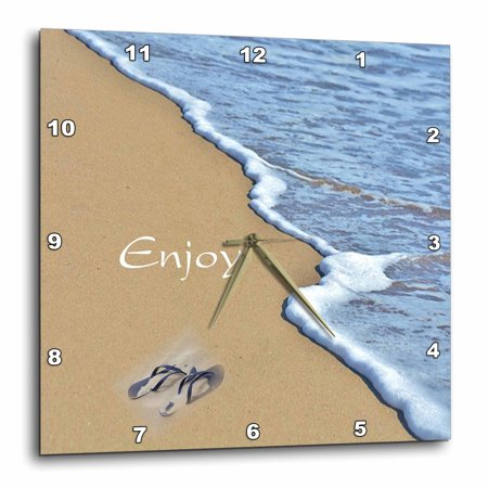 Flip Flop Clock (3dRose Print of Beach Shore with Enjoy And Flip Flops, Wall Clock, 13 by 13-inch)