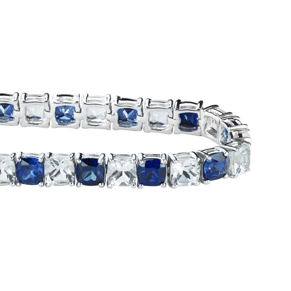 Sterling Silver 4.57 CTTW Created Blue Sapphire and White Topaz Tennis Bracelet Gift for Anniversary Birthday Holiday by Sterlyn Silver