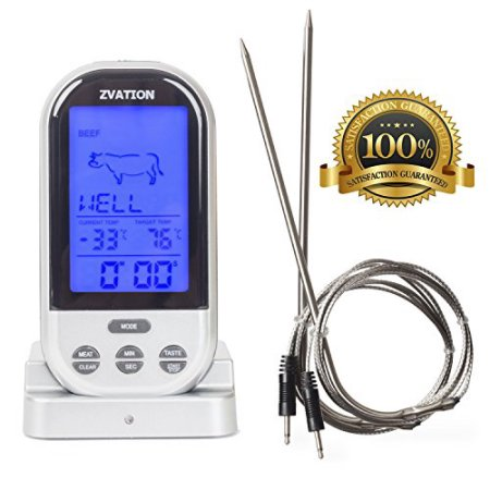Zvation Wireless Meat Thermometer - BBQ, Grill, Smoker or Oven Cooking Wireless Long Range Dig ital Food Thermometer with Countdown Kitchen Timer - 2 Stainless Steel Probes Included