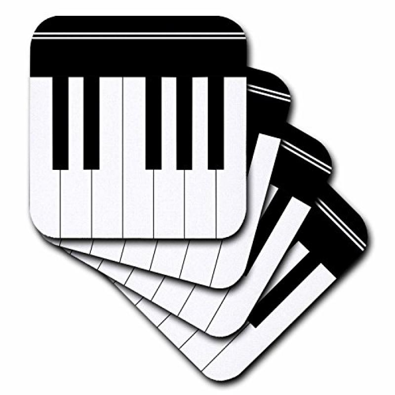 3dRose Piano keys - black and white keyboard musical design - pianist music player and musician gifts, Soft Coasters, set of 4