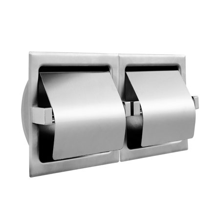 Recessed Two Roll Hooded Toilet Paper Holder Stainless Steel Satin Finish Roll Recessed Toilet