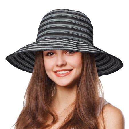 Tirrinia Women Floppy Straw Sun Hat Wide Brim Striped Beach Cap Foldable