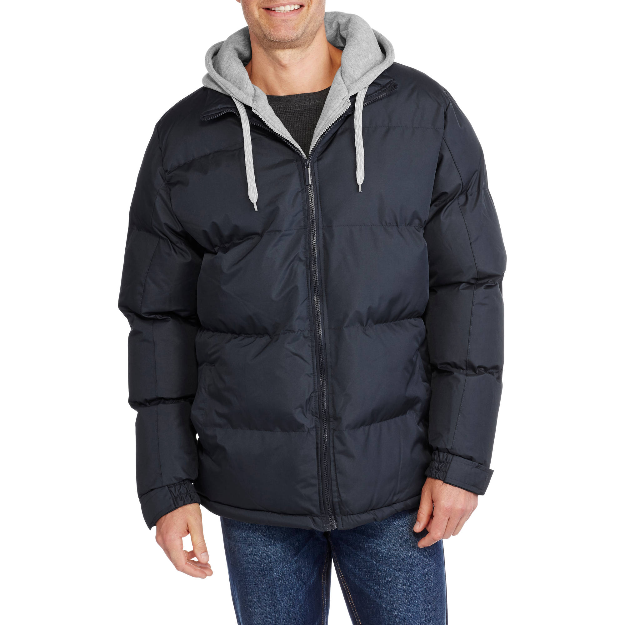 Men's Hooded Bubble Jacket with Fleece Chest Warmer