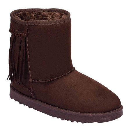 Fringe Furry Vegan Shearling Suede Fleece Women's Flat Boot - 8.5 / Black