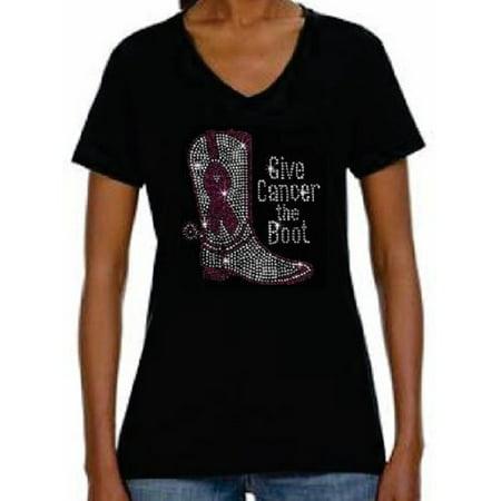 - Rhinestone Womens T Shirt Breast Cancer Fight JRW-099 - S / Women Short-Sleeve V-Neck-T-Shirt