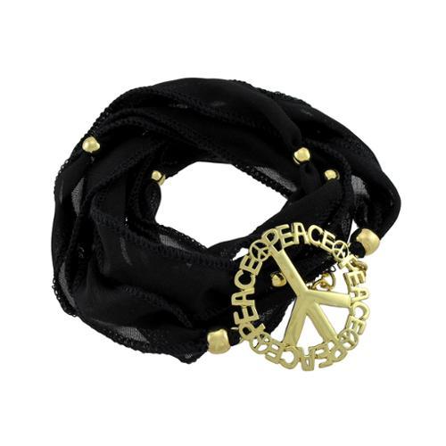 Black Beaded Ribbon Gold Tone Peace Sign Wrap Bracelet