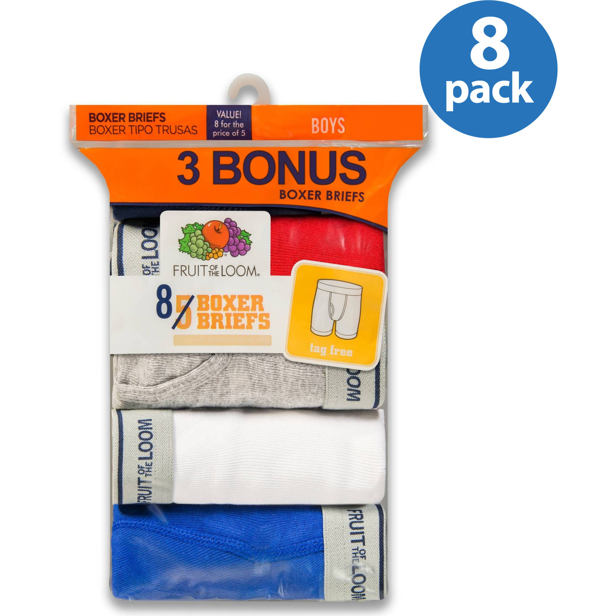 Fruit of the Loom Boys Assorted Color Boxer Brief,  5+3 Bonus Pack
