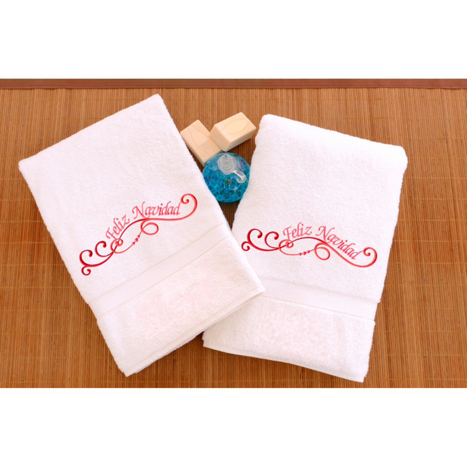 Embroidered Hand Towels with Feliz Navidad Swirls - Set of 2