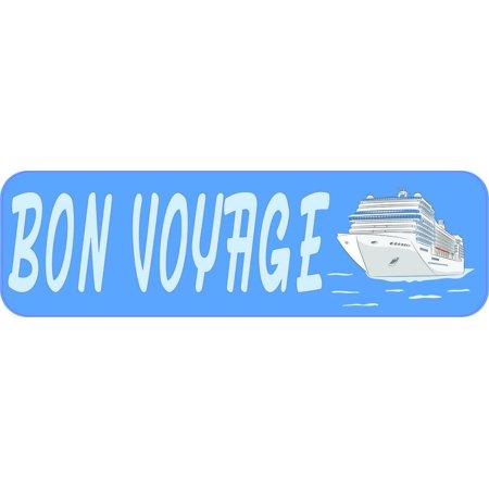 10in x 3in Bon Voyage Cruise Ship Bumper Sticker Vinyl Window (Bon Voyage Stickers)