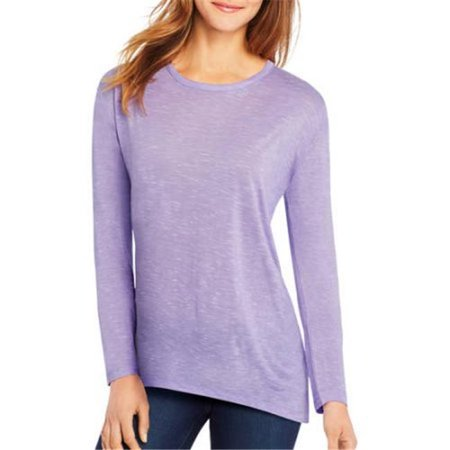 Womens Lone Sleeve top with Center Back Lace Detail - Spring Lilac Heather, Medium