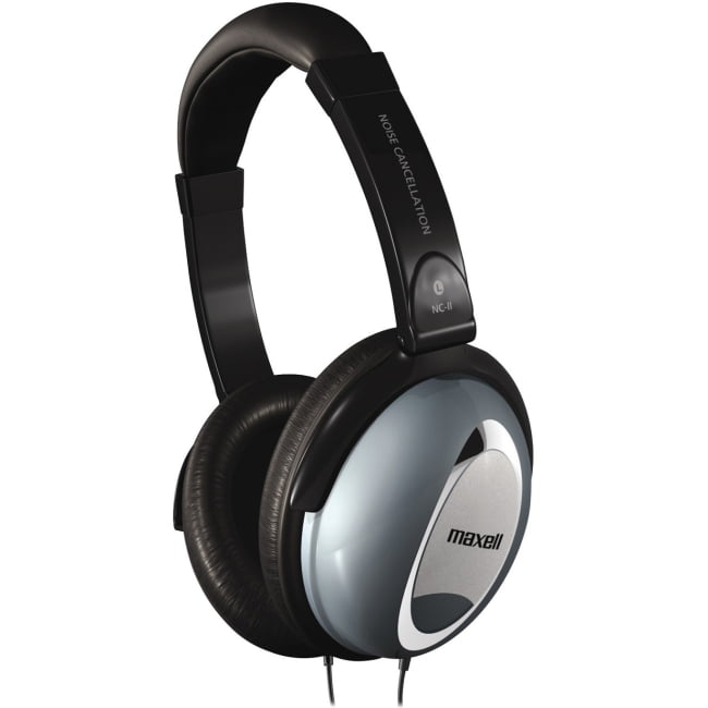 Maxell Noise Cancellation Headphones Stereo Black, Gray Mini-phone Wired 60 Ohm 10 Hz 28 kHz Nickel Plated Over-the-head... by Maxell
