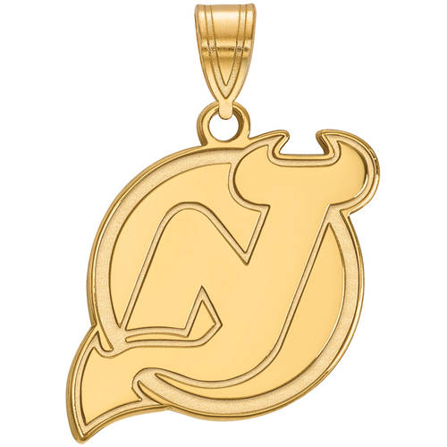 LogoArt NHL New Jersey Devils 14kt Yellow Gold Large Pendant