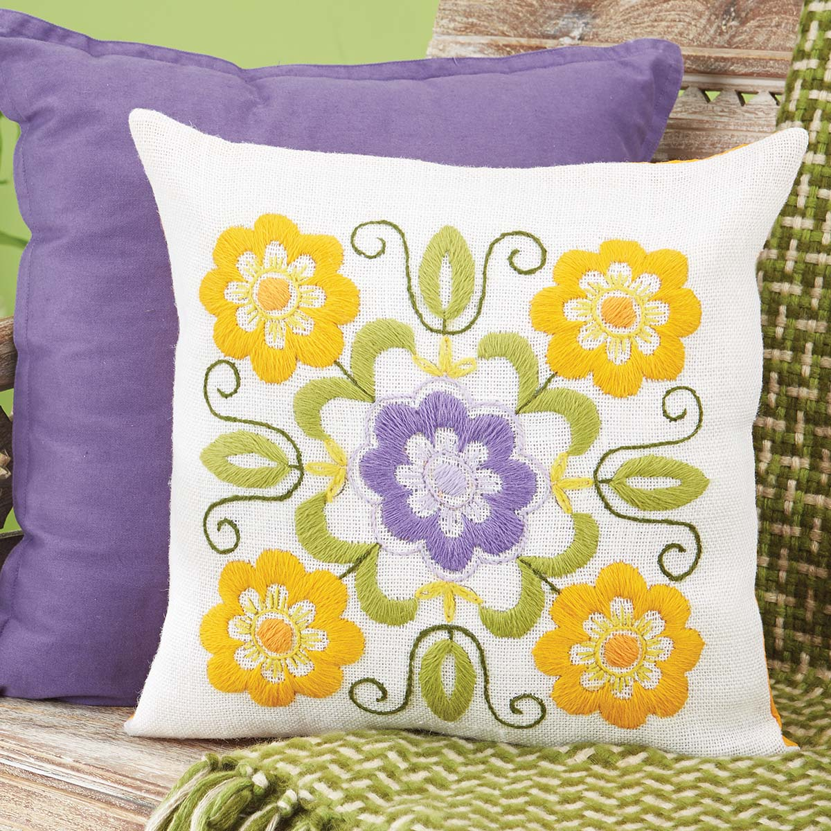 Herrschners® Round Yellow Flowers Pillow Cover Stamped Embroidery Kit