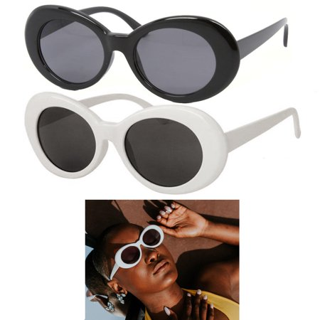 1 White Black Clout Goggles Glasses Vintage Classic Kurt Cobain Sunglass (Best Sunglass Shape For Oval Face)