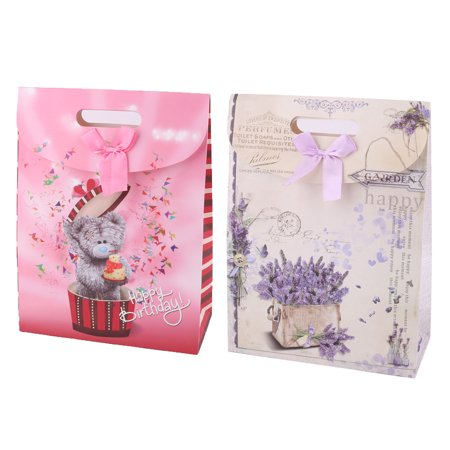Party Flower Bear Pattern Foldable Holder Carrier Wrapper Gift Bags 2 Pcs - image 5 of 5