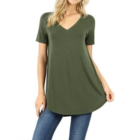 Short Sleeve Round Neck T-shirt (Women Short Sleeve V Neck Round Hem Relaxed Fit Casual Tee Shirt Top)