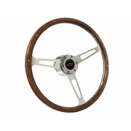 1969 - 1994 Chevy S6 Classic Riveted Wood Steering Wheel Chrome Kit | Red Bow - Cheap Bow Ties
