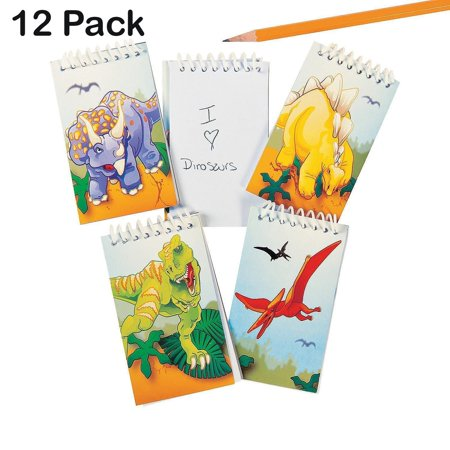 Partys For Boys (Spiral Dinosaur Notepads - Pack Of 12 - 20 Pages Each 2.25 X 3.5 Inches, Mini Spiral Bound Notebook Memo Pad, Pocket Size - For Kids, Boys And Girls, Great)