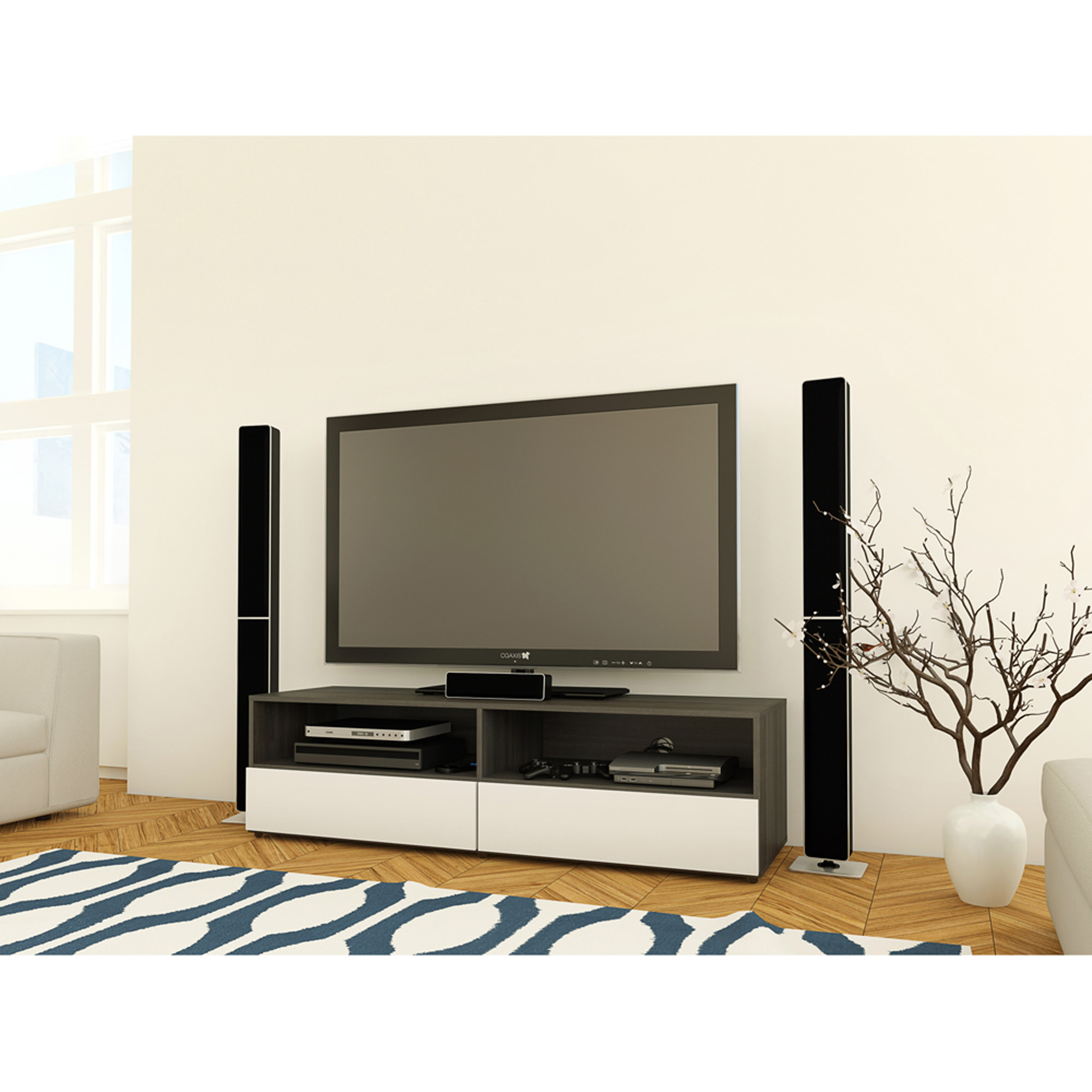 "Nexera Allure TV Stand for TVs up to 60"", White/Ebony"