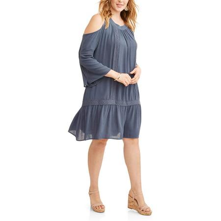 Terra & Sky Women's Plus Cold Shoulder Peasant Dress with Crochet