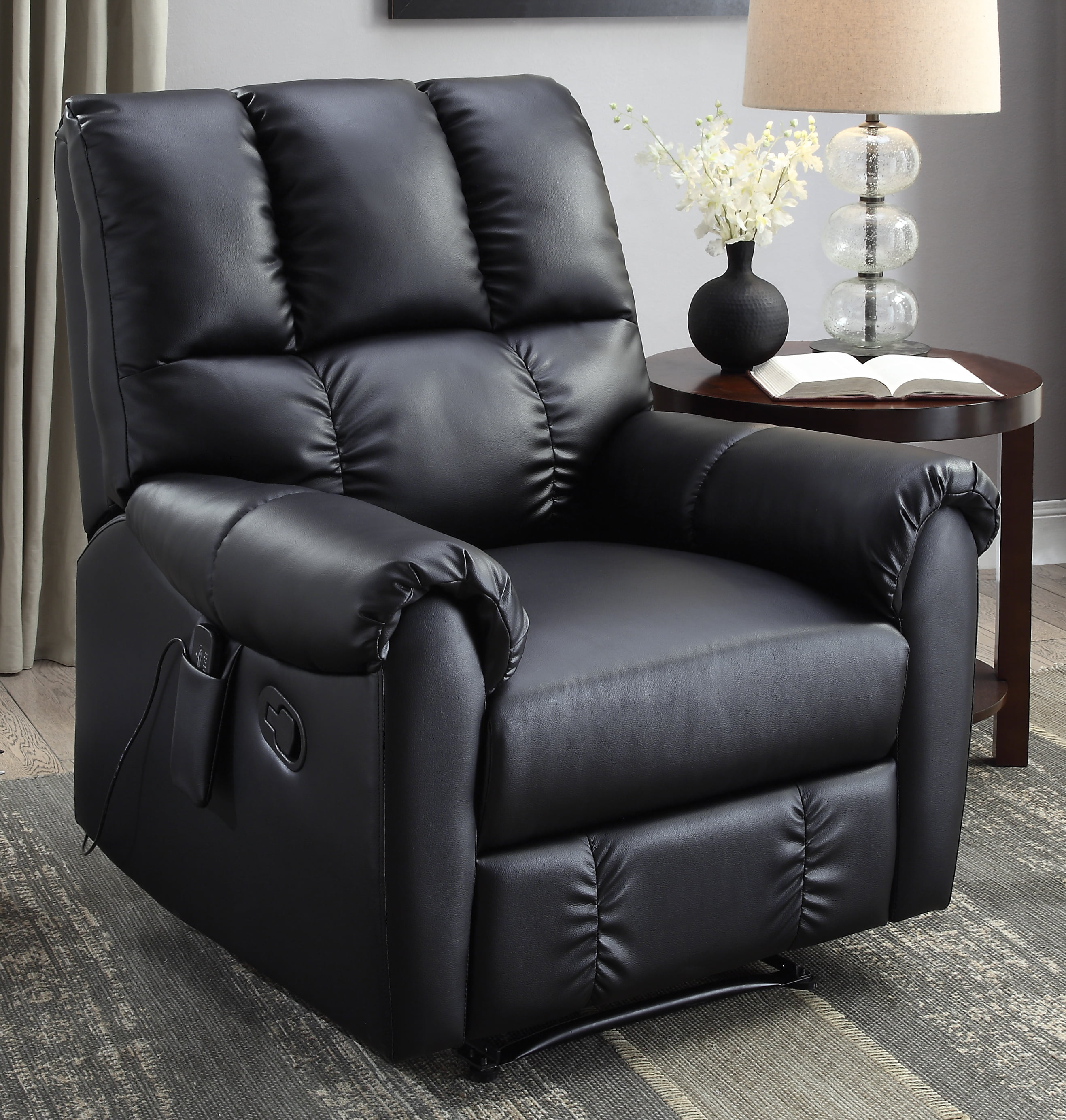 Flash Furniture Massaging Leather Recliner And Ottoman, Black   Walmart.com