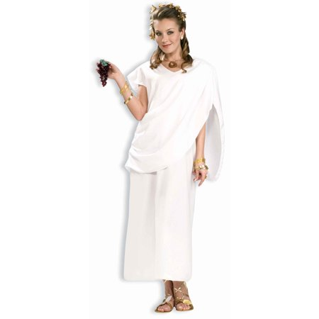 Greek Roman Grecian Goddess White Toga Dress Adult Woman Costume-Std