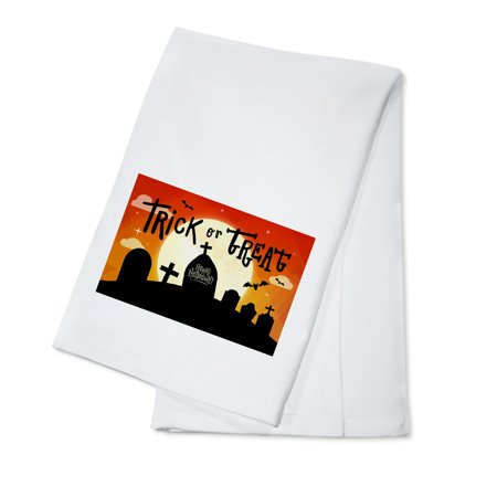 Happy Halloween - Trick or Treat - Graveyard - Lantern Press Artwork (100% Cotton Kitchen Towel) - Happy Halloween Day Trick Or Treat