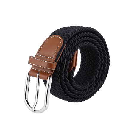 Men Womens Elastic Braided Belt Adjustable Pin Buckle Stretch Belt, Black