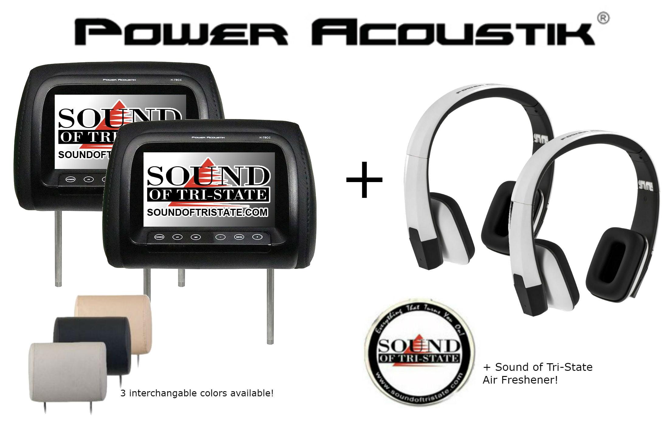 "NEW Power Acoustik 7/"" Headrest Monitor 3 Color Skins Dual Channel IR H78CC"