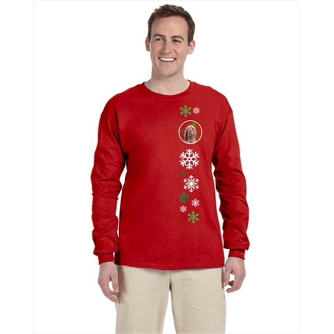 Carolines Treasures SC9757-LS-RED-M Otterhound Red Snowflakes Holiday Long Sleeve Red Unisex Tshirt - Adult Medium - image 1 de 1