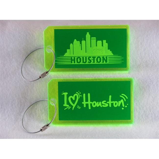 Destinations Neon Acrylic I. D.  Tag - Houston  Green -pack of 2