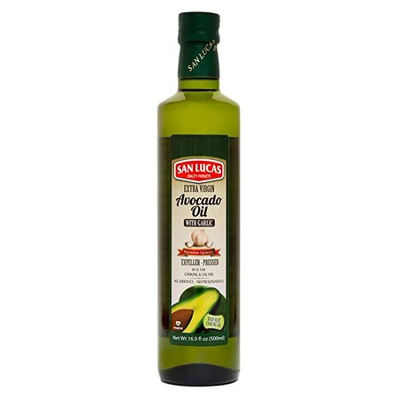 - San Lucas 100% Pure Avocado Oil with Garlic Oil Kosher (K) 1/2 Liter (16.9 Fl Oz)