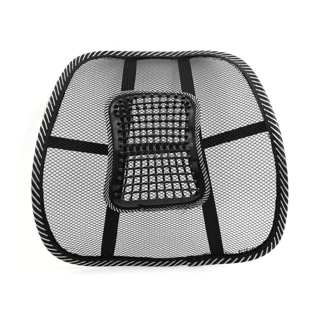 Black White Waist Lumbar Massage Mesh Cushion Back Support Pad for Car Office - image 5 of 5