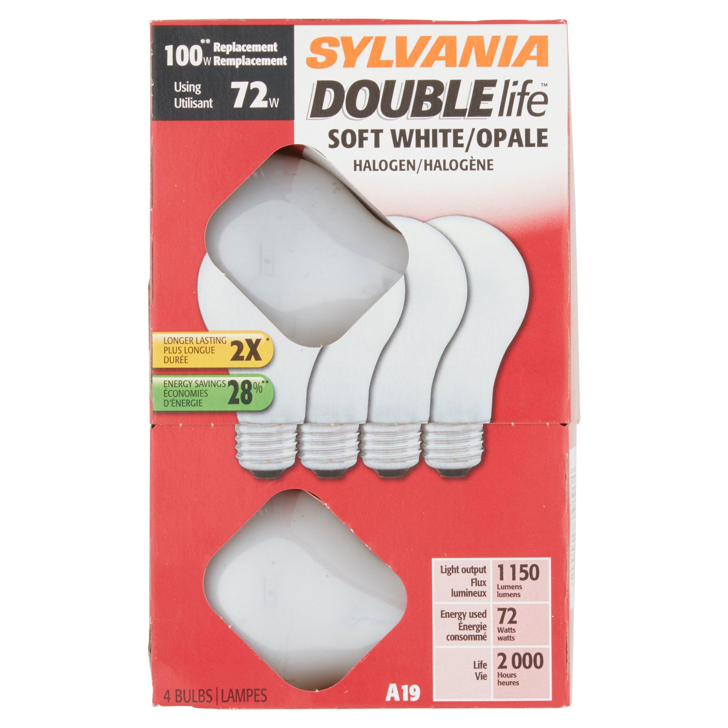 Sylvania Halogen Light Bulbs: Sylvania Double Life 72W Halogen Light Bulbs, Soft White, 4-Pack -  Walmart.com,Lighting