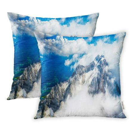 BOSDECO Blue Water Mountain Cloud Top View Landscape Snow Pillowcase Pillow Cover 16x16 inch Set of 2 - image 1 de 1