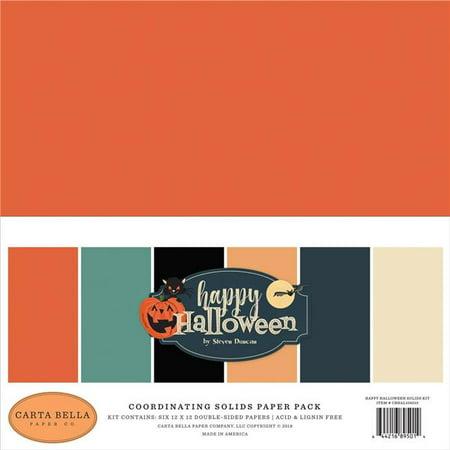 Echo Park Paper AL104015 12 x 12 in. Carta Bella Double-Sided Solid Cardstock, Happy Halloween - 6 Colors - 6 per