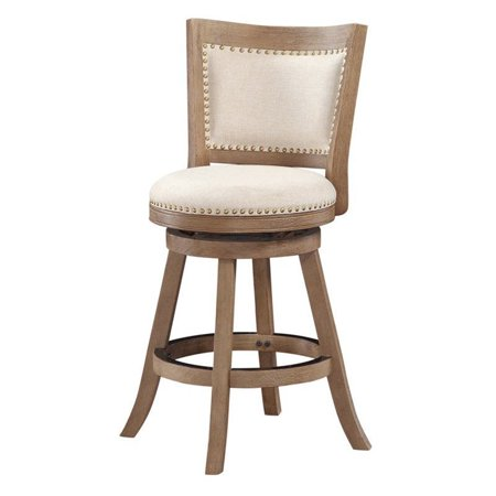 "Pemberly Row 24"" Melrose Swivel Stool in Driftwood Gray and Ivory"