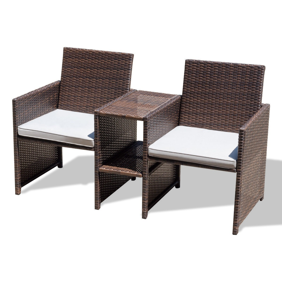 Outdoor Rattan Sofa Chair Furniture Set with Cushion by