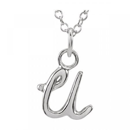 "14kt White Letter """"U"""" Lowercase Script Initial Necklace 85899 / 14Kt White / U / Polished / 18.00 Inch Lowercase Script Initial Necklace"