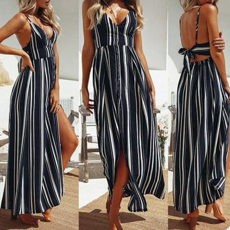 Sleeveless Skirt Suit (Women Holiday Sleeveless Ladies Maxi Long Summer Ladies Stripes Long Skirts Size S)